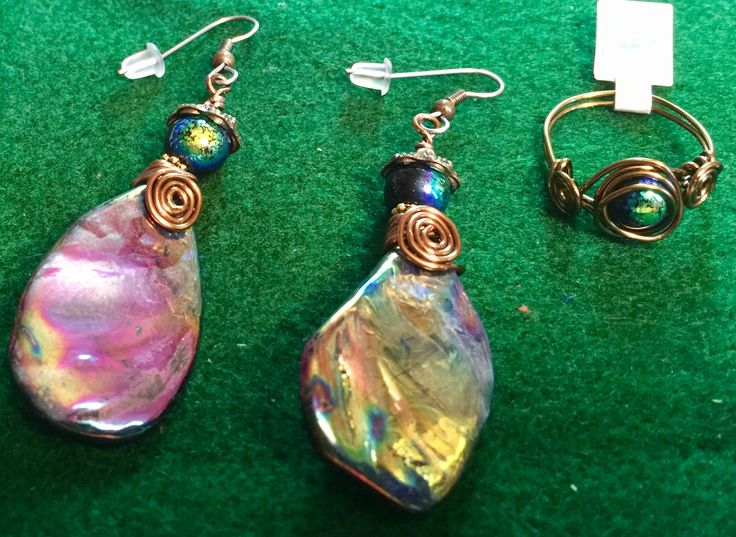 Shell earrings and ring set by WendysSpace on Etsy
