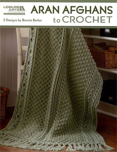 If you love the romantic look of Aran pattern stitches, the Aran Afghans to Crochet collection is a must have for your pattern library. Bonnie Marie Barker presents five full-size sampler afghans in t
