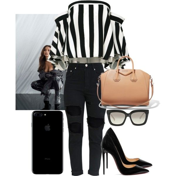 Model off duty by arcticlove on Polyvore featuring mode, Milly, Christian Louboutin, Givenchy, Michael Kors, Bensimon, black, Louboutin, ripped and stripped