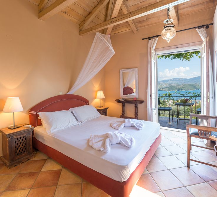 Interior design of villa Pergola! Master bedroom with sea view. Lefkada, Ionian Islands, Greece #islandlife #booknow