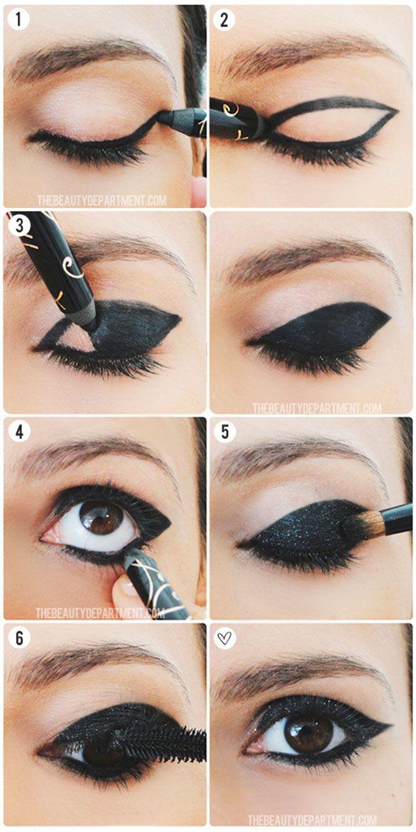 1. Com um lápis preto, faça um traço grosso na linha rente aos cílios e finalize com um leve formato gatinho. 2. Seguindo a linha de baixo, ...