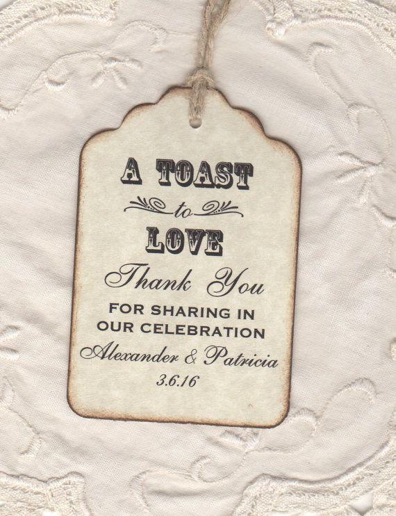 50 Custom Toast To Love Wedding Favor Tags / Thank by luvs2create2