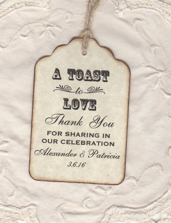 50 Custom Toast To Love Wedding Favor Tags / Thank You / Shot Glass Liquor Wine Bottle Label Tags - Vintage Style