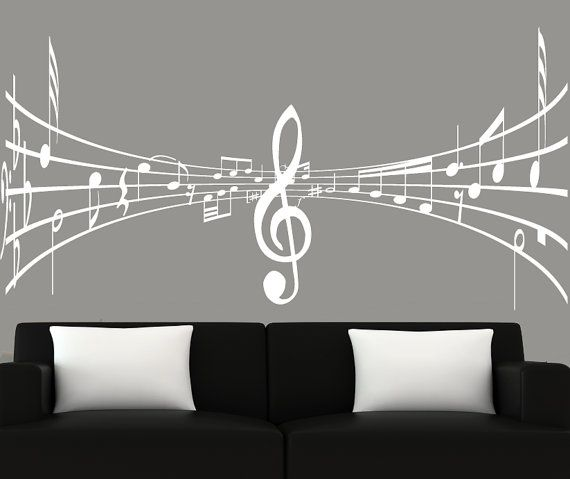Modern wall art music notes wall decal 3d wall by couturedecals, $69.00; for Celeste's room.