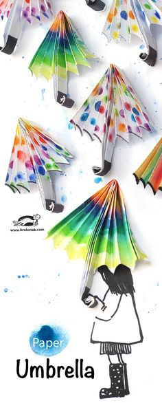 Rainy day spring craft : Adorable decorated paper umbrellas for kids to cut out and color in. Glue to paper and create a rainy day scene. Great art craft for older kids and younger kids to do together