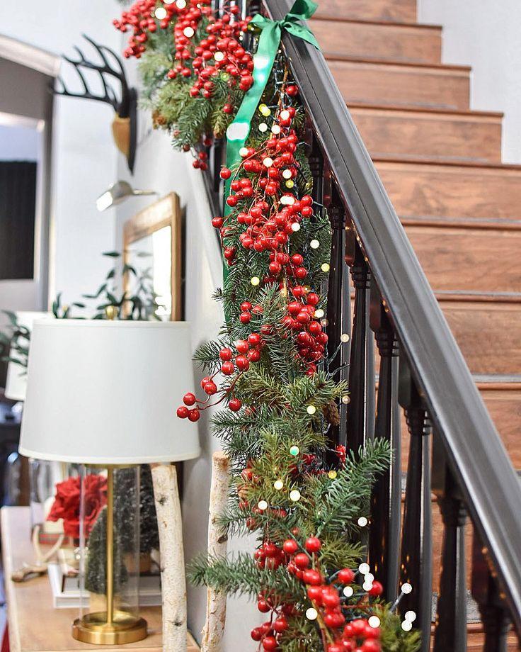 A rustic modern Christmas | Christmas banister, Christmas ...
