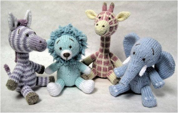 Knitting Patterns Jungle Animals : Not So Wild Animals Knitted Toys Set of 4 by DesignedByJayBee, ?100.00 Knit...