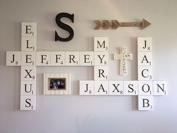 Scrabble Family Name Pieces Personalized Name Sign Family Name Wall Decor Tile Wall Art Farmhouse Wall Decor