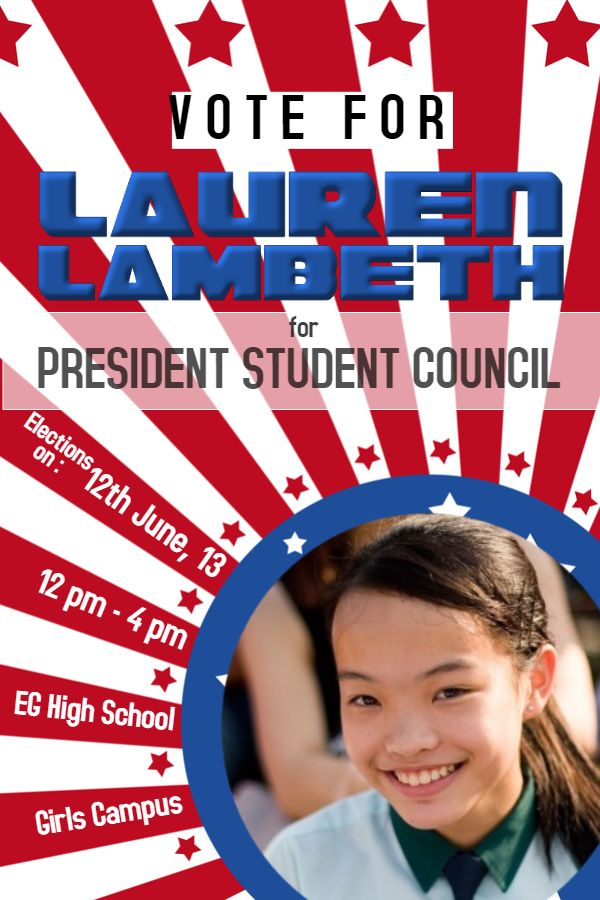 school student council election poster flyer template