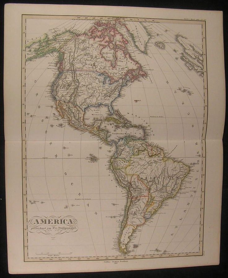 Map Of South America%0A North  u     South America California Texas      antique Stulpnagel hand color  map