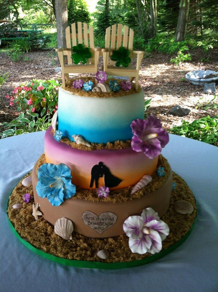 Hawaiian Themed Wedding Cake