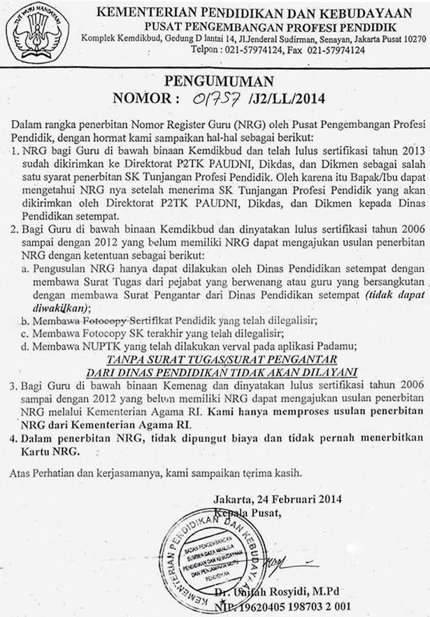 Forum PTK SURAT PENERBITAN NOMOR REGISTRASI GURU (NRG
