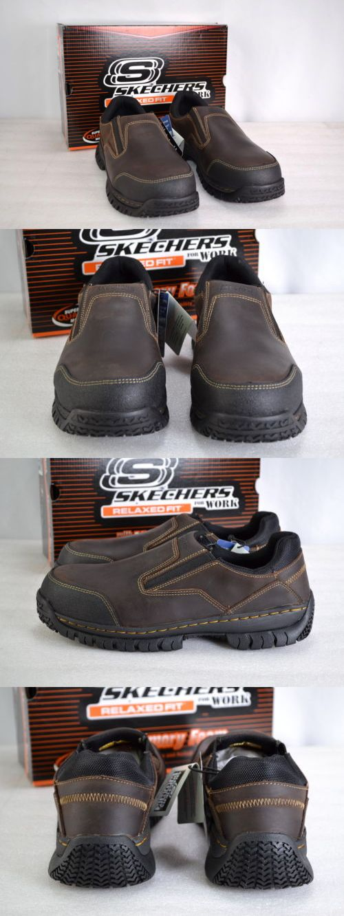 clothing and accessories: Men S Skecher S For Work, 77066,Hartan,Slip On Steel Toe Work Shoes, Dark Brown. -> BUY IT NOW ONLY: $49.99 on eBay!