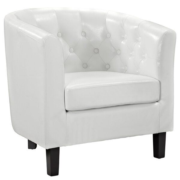 Maldonado Barrel Chair In 2020 Vinyl Armchair White Leather Chair White Upholstery