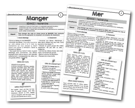 Voici les fiches de préparations pour UN MOT, DES MOTS… Période 1 : Manger(leçon en lien sur le champ lexical et les mots génériques) Mer(leçon en lien sur l'utilisation du dictionnaire) Pé…