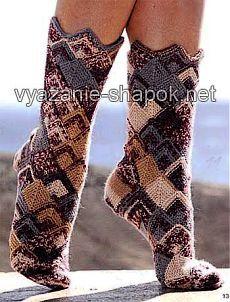 Красивые носки спицами в стиле «пэчворк»   ВЯЗАНИЕ ШАПОК: женские шапки спицами и крючком, мужские и детские шапки, вязаные сумки