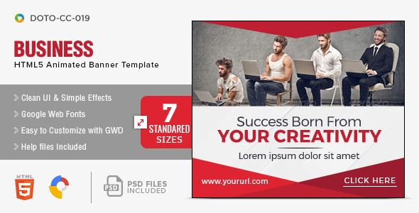 Business Html5 Banners 7 Sizes Animated Banners Animated Banner Ads Google Web Designer