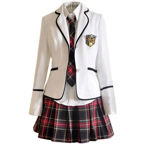 Japan School Uniform girls Dress Cosplay Costume Anime long sleeve... (£32) ❤ liked on Polyvore featuring dresses, anime, cosplay and outfit