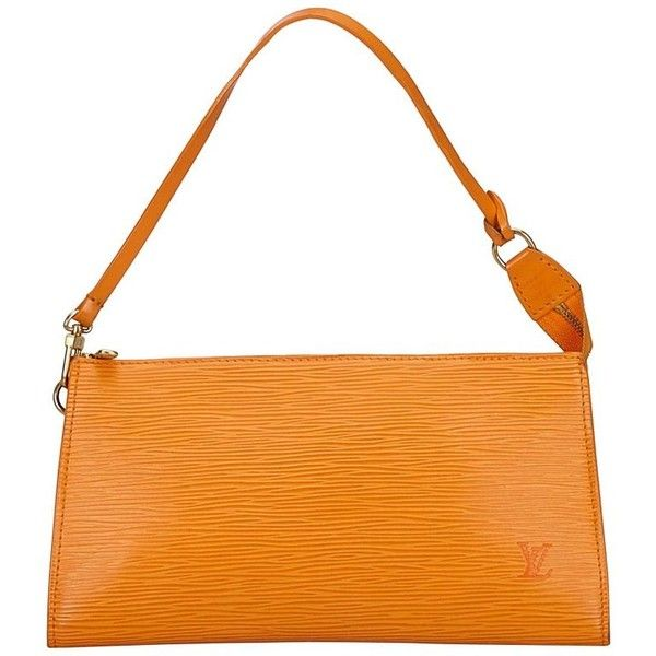 Preowned Louis Vuitton Orange Epi Pochette Accessoires 24 Handbag (535 AUD) ❤ liked on Polyvore featuring bags, handbags, shoulder bags, orange, shoulder hand bags, louis vuitton shoulder bag, man bag, summer purses and orange shoulder bag