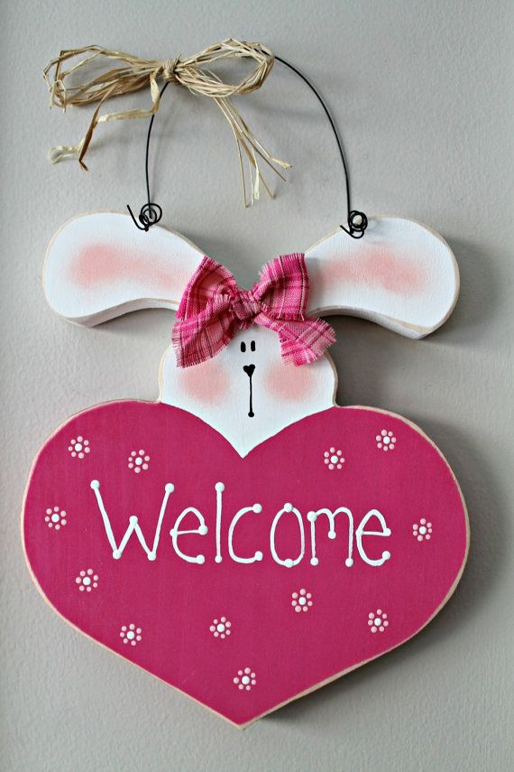 Bright Pink Easter Bunny Wooden Welcome Heart by lauraswoodshed, $15.00