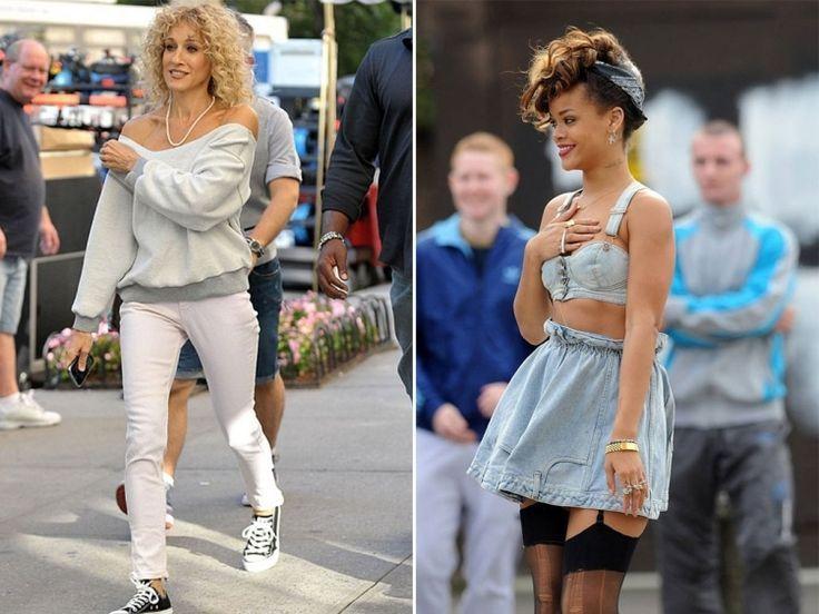 80er Jahre Mode Street Style Schulterfrei Denim Rihanna Sarah