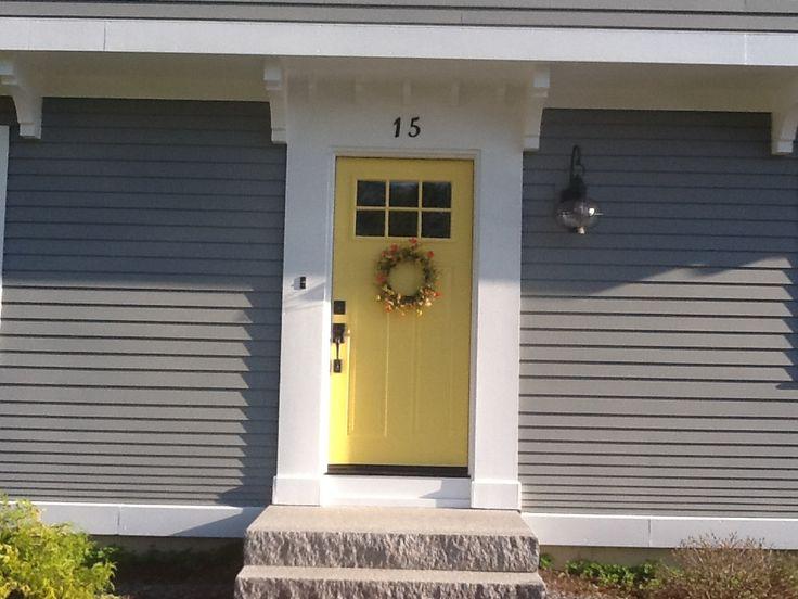My newly painted yellow front door! Benjamin Moore yellow raincoat