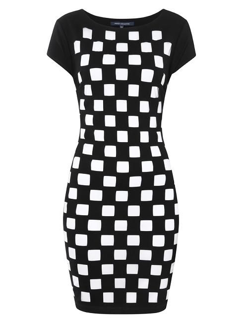 #Frenchconnection dress is a statement piece that is sure to turn heads. Cutout Chequerboard Dress is fitted with a round neck and simply slips on.