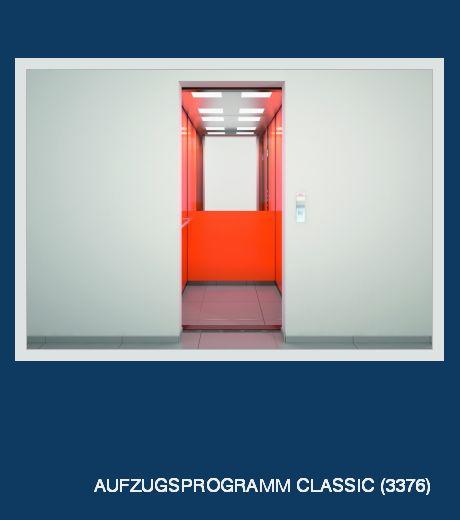 Aufzugsprogramm Classic - Kabinenwände: Stahlblech, pulverbeschichtet, Decke: LED-Leuchtfelder, Rückwand: Spiegel halbflächig