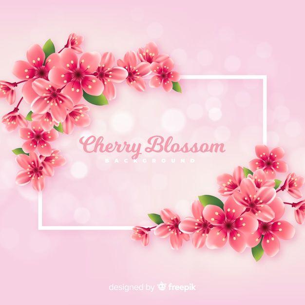 Realistic Cherry Blossom Background Free Vector Cherry Blossom Background Cherry Blossom Guestbook Birthday
