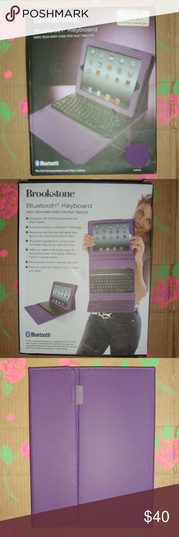 NEW -  Brookstone Bluetooth Case For iPad -Purple Brookstone 797194 Bluetooth Case For iPad 3rd Generation and iPad 2 Tablets in NEW Condition Allows Access to built in cameras & ports Brookstone Accessories Tablet Cases