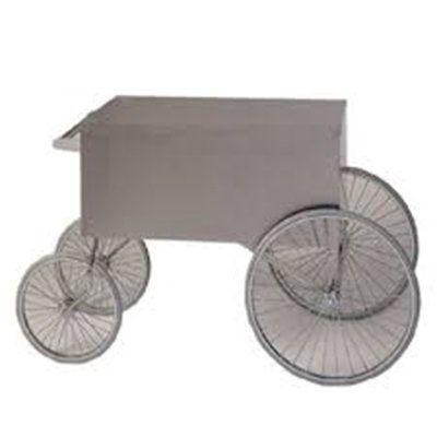 """Gold Medal 2013W Popcorn Wagon w/ Stainless Countertop & 4-Spoke Wheels, White, 62x34"""""""