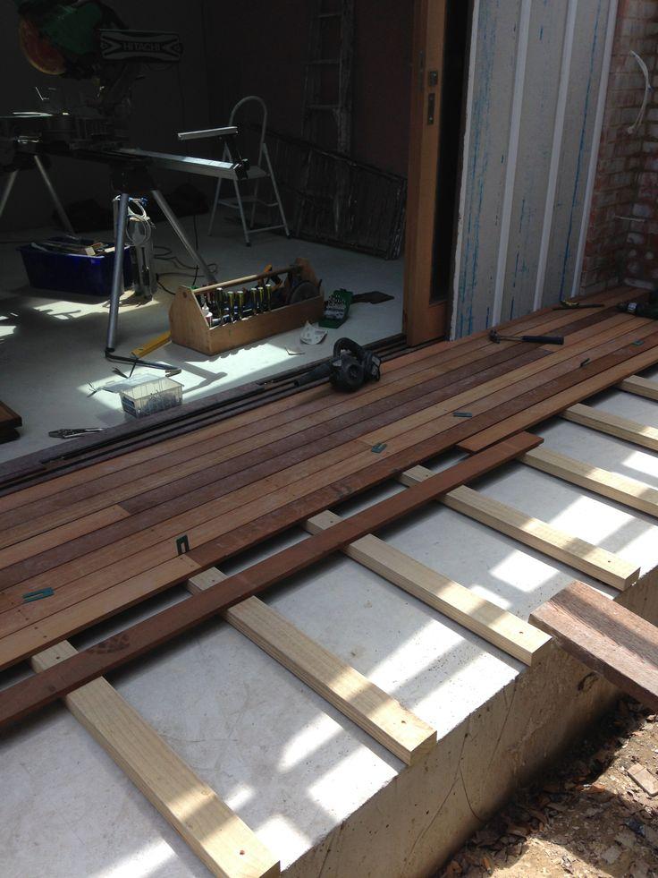 Decking being installed.