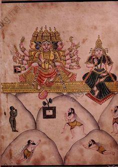 Shiva und Uma auf Berg Kailash. 19. Jh. Schule von Tanjore