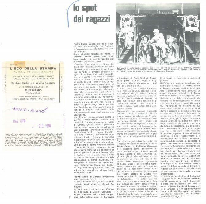 Ritaglio Storico del 1970 - Lo spot dei ragazzi