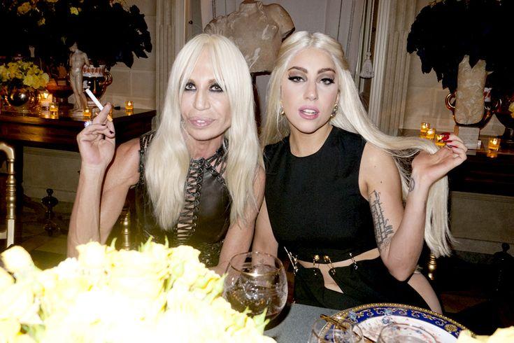 Donatella and Lady Gaga having dinner.