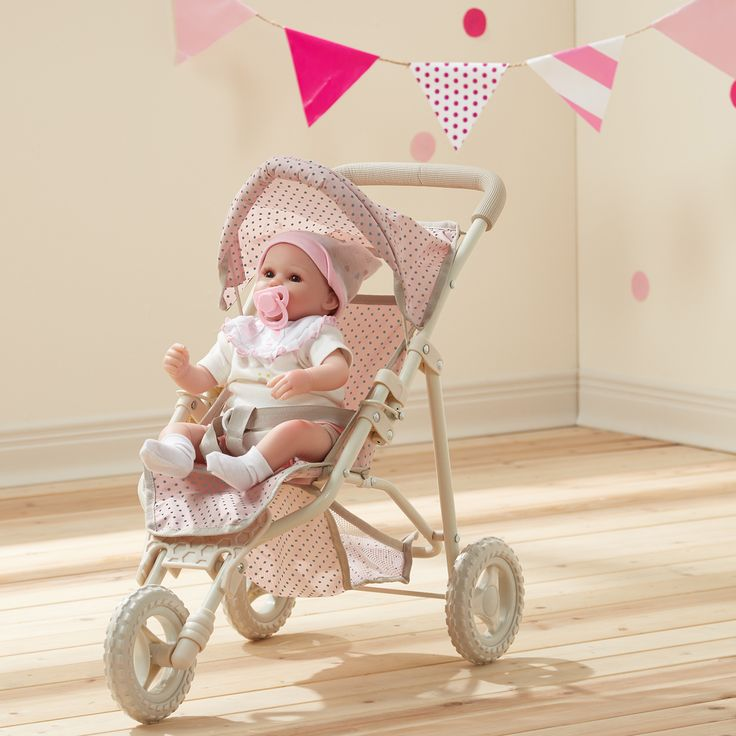 Teamson Olivia's Little World Pink and Grey Polka Dots Princess Baby Doll Jogging Stroller (Olivia's Little World - Baby Doll Jogging Stroller)