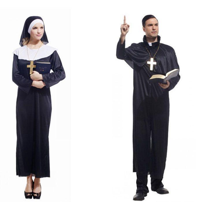 Священник хэллоуин монахиня костюмы для женщин карнавальные костюмы для взрослых необычные хэллоуин костюмы кино мужчины