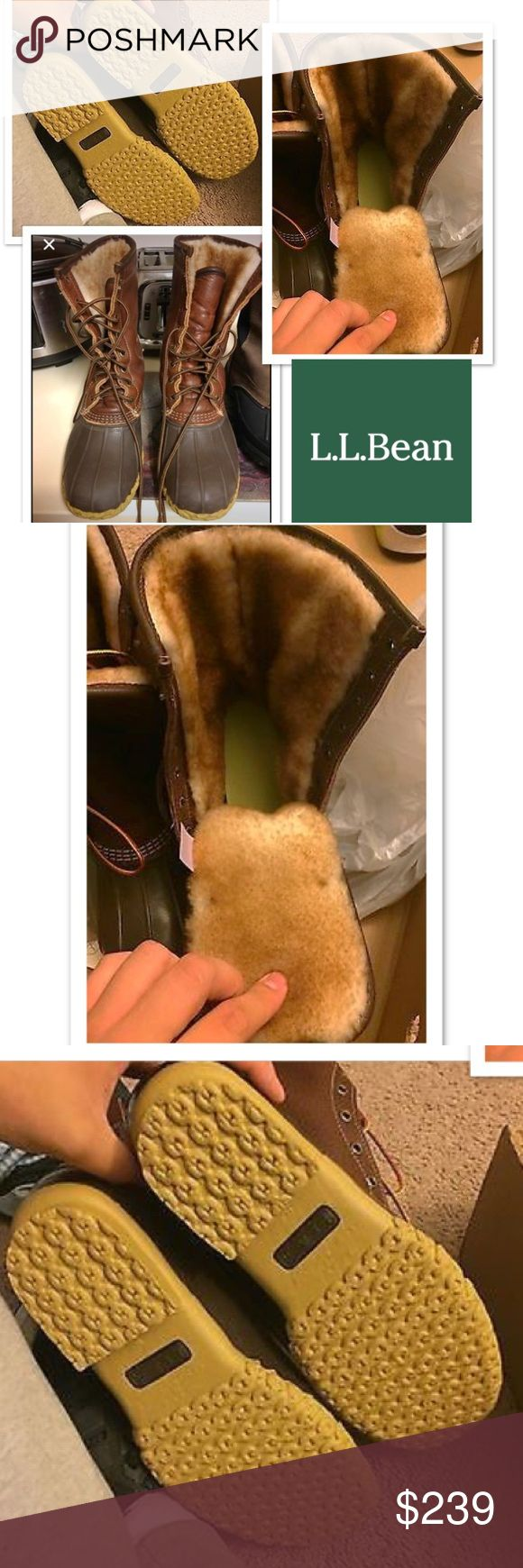 L.L. Bean Boots women's Size 9 shearling lined CHOCOLATE BROWN L.L. Bean boots women's size 9 duck boots lined with Shearling fur!! Super nice boots and warm! Authentic boughten at my local LL Bean factory store! Great boots for winter L.L. Bean Shoes