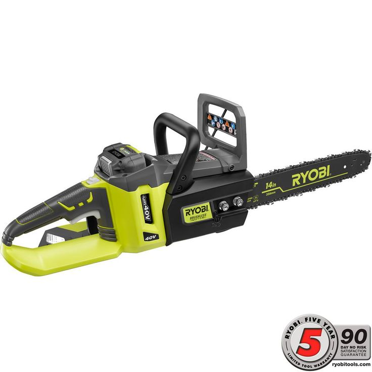 Ryobi 14 in. 40-Volt Lithium-Ion Brushless Cordless Chainsaw-RY40511 - The Home Depot