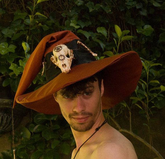 Copper Steam Punk Wizard Hat with Wire Wrapped Raccoon Skull & Bones