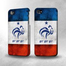 Le bleu, blanc, rouge coque iphone avec son coq français.