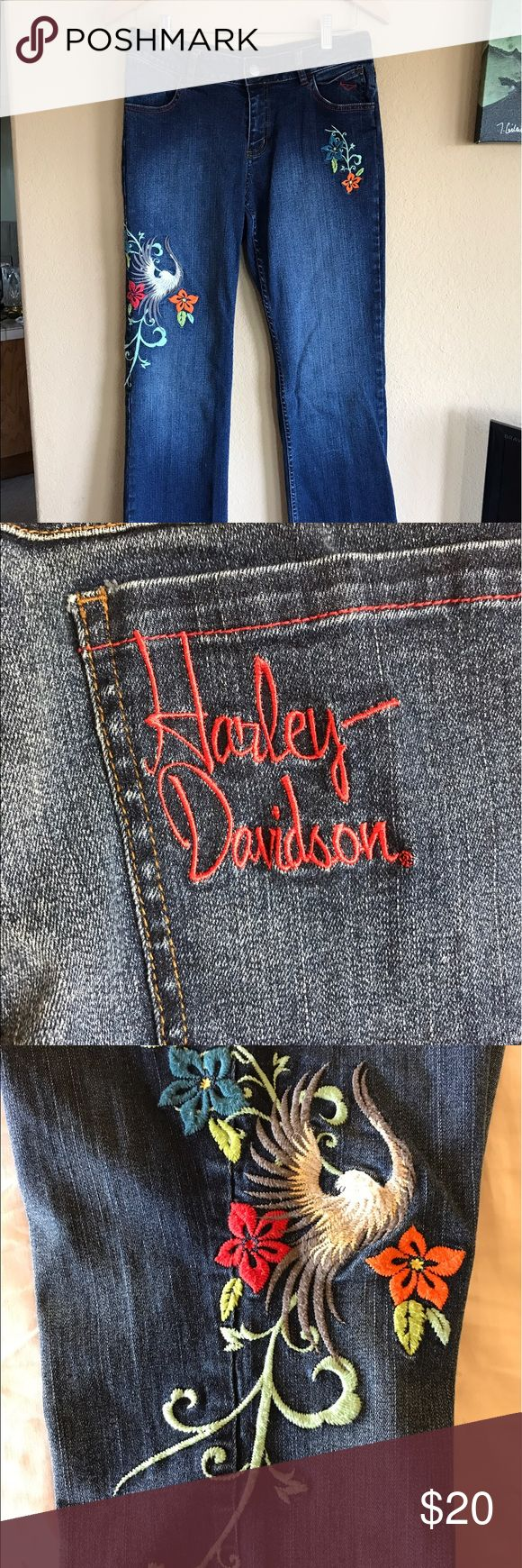 Harley Davidson embroidered jeans sz 6 These jeans are very stretchy and comfortable, may run on the larger side of size 6. Harley Davidson Jeans