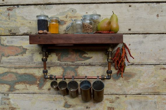 Kitchen shelf with tea towel rail, copper and brass with reclaimed gorgeous timber / wood. Industrial steampunk