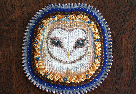 Barn Owl - Owl Portrait - Modern Embroidery - Hand Embroidery - Embroidery Art - Textile Art - Patch - Brooch - Pin - Wall Decor