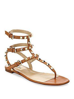 Valentino Rockstud Leather Gladiator Sandals
