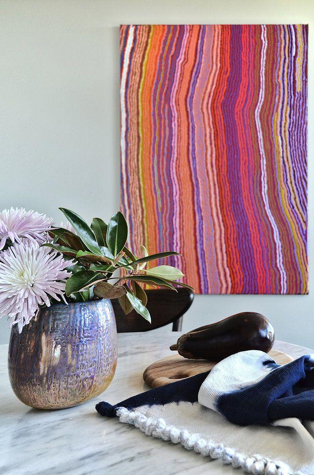 Circular Quay Harbour Apartment - Swan Studio Interior Design | breakfast nook australian indigenous aboriginal art