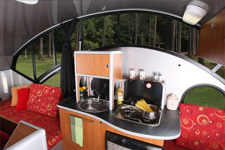 Alto 1723Ultimate teardrop camper!***This is it!! All the bells & whistles of a large camper, sleeps 4 but light enough to be pulled by a small car...whoo hoo! Tests show that with roof down, it produces 75% less aerodynamic drag than a conventional 16' travel trailer. Talk about gas-friendly!