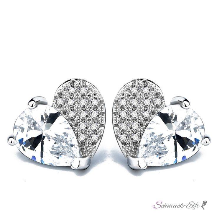 1 Paar Ohr Stecker Herz mit Zirkonias klar aus 925 Silber im Etui,