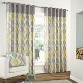 Duck egg blue and yellow retro curtains from Dunelm Mill