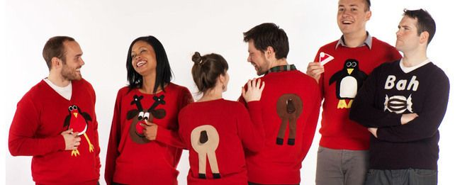 Novelty Christmas Jumper Front & Back Brown Rudolph Squeaky Nose - Men's XS-XXL